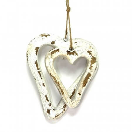 Pair Of Wooden Heart Decoration