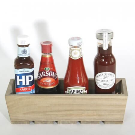 Wooden Condiment Holder with Slatted Base - Front