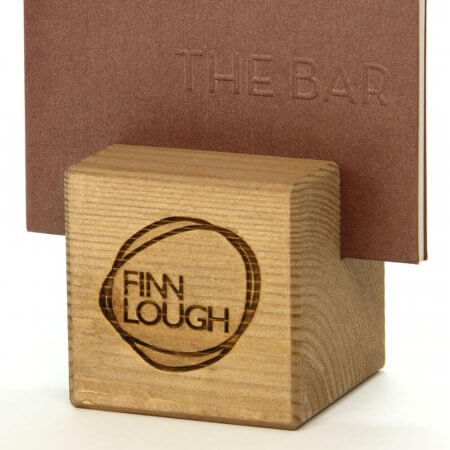 Engraved Wooden Menu Cube with Logo and 1 slot