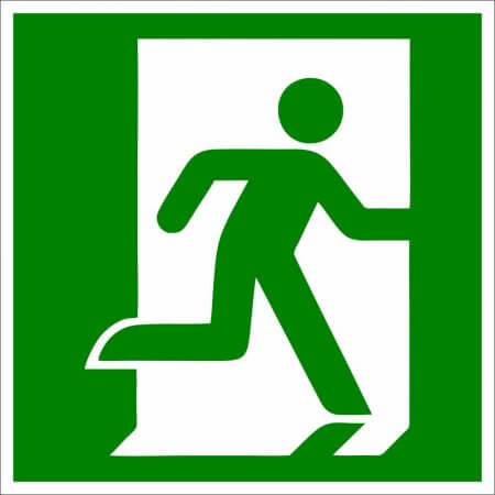 Fire Safety Sign - Running to the Right Symbol