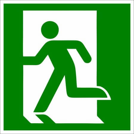 Fire Safety Sign - Running to the Left Symbol