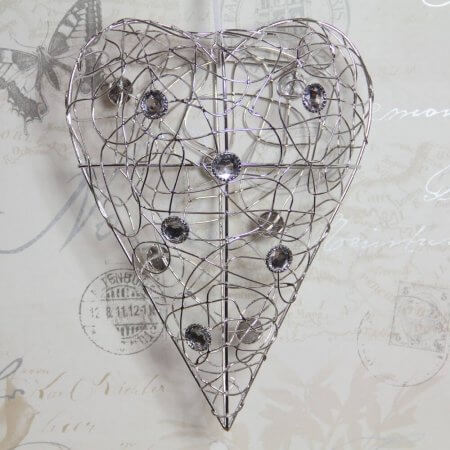 Silver wire heart with crystals