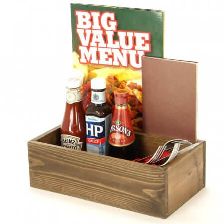 Large Wooden Condiment Box with Divider