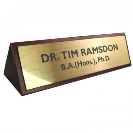 Desk Sign Wood & Brass Plate