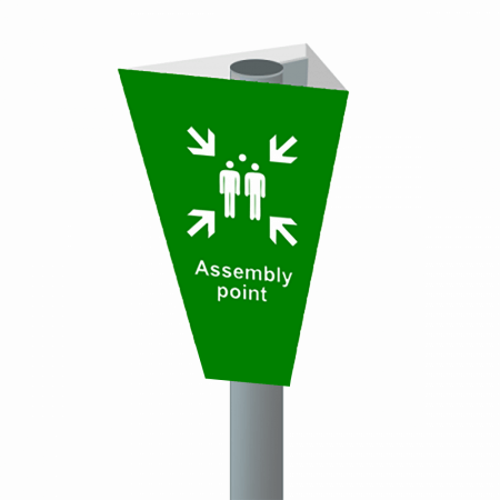 Assembly Point Cone Marker Sign System 3D Illustration