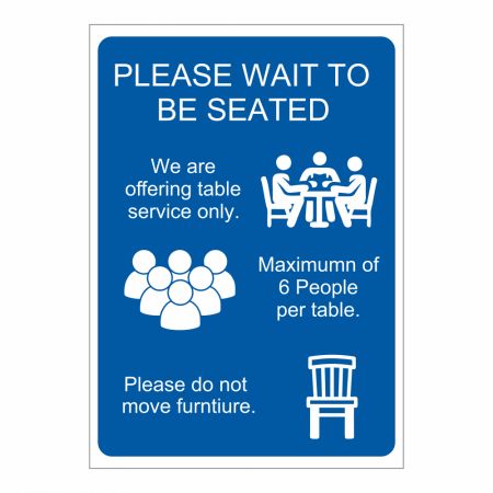 Please Wait To Be Seated Hospitality Guidelines Sign