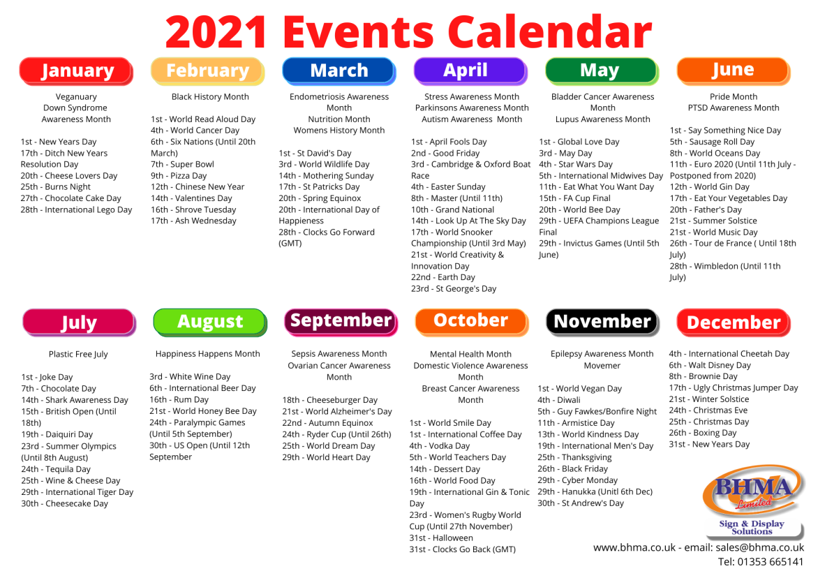 Events calendar 2021, whats on 2021
